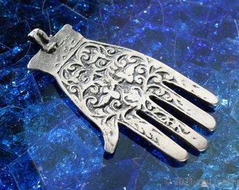Pendant hand of Fatima Hamsa hand amulet oriental jewelry 61 mm