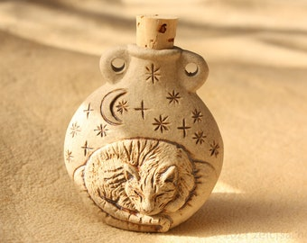 From 34.90 Euro: Ceramic pendant Slumbering cat under the starry sky Bottle made of ceramic cuddly Stubentiger ceramic jewelry