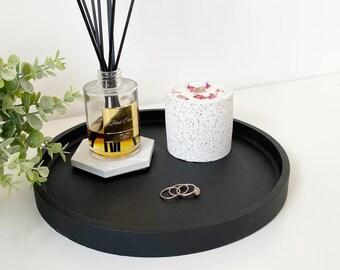 Matt Black Concrete Maxi Tray   Styling Tray   Decorative Tray   Round Tray