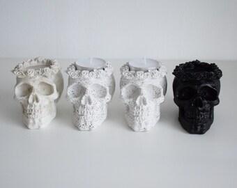 Concrete Skull Tea Light Holders   Halloween Decor   Skull Decor   Tea Light Holder