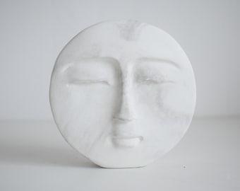 Concrete Moon Face Sculpture   Face Sculpture   Minimal Ornament   Shelf Décor   Housewarming Gift