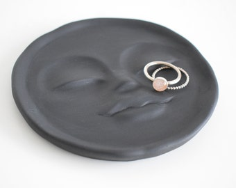 Concrete Moon Face Trinket Dish   Ring Dish   Unique Trinket Dish   Jewellery Dish