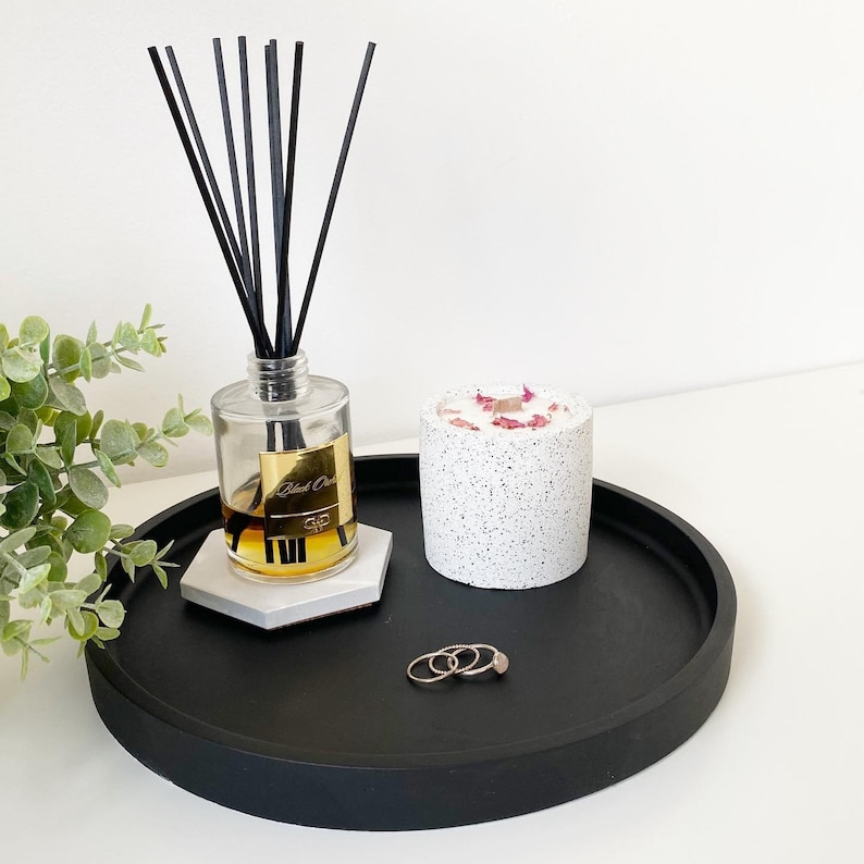Matt Black Concrete Maxi Tray  Styling Tray  Decorative Tray image 0