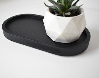 Matt Black Concrete Ova Tray | Styling Tray | Decorative Tray | Oval Tray