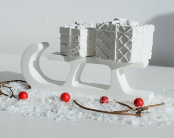 Concrete Christmas Sleigh and Presents Set | Christmas Decor | Santa's Sleigh | Xmas Present | Christmas Decoration | Christmas Home Styling