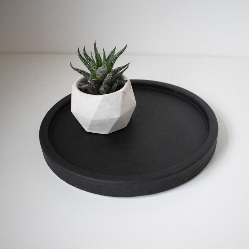 Junior Matt Black Concrete Maxi Tray  Decorative Tray  image 0