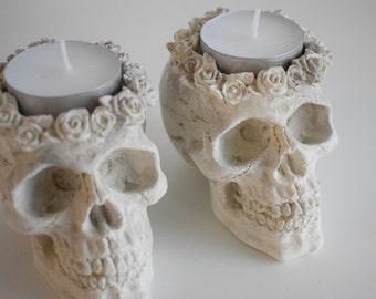 Concrete Skull Tea Light Holders | Halloween Decor | Skull Decor | Tea Light Holder