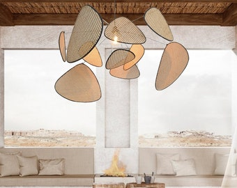 Simple Nordic Chandelier, Living Room Modern ,New Chinese Restaurant, Tea Room Handmade Lamp Creative Personality Japanese Bamboo Chandelier
