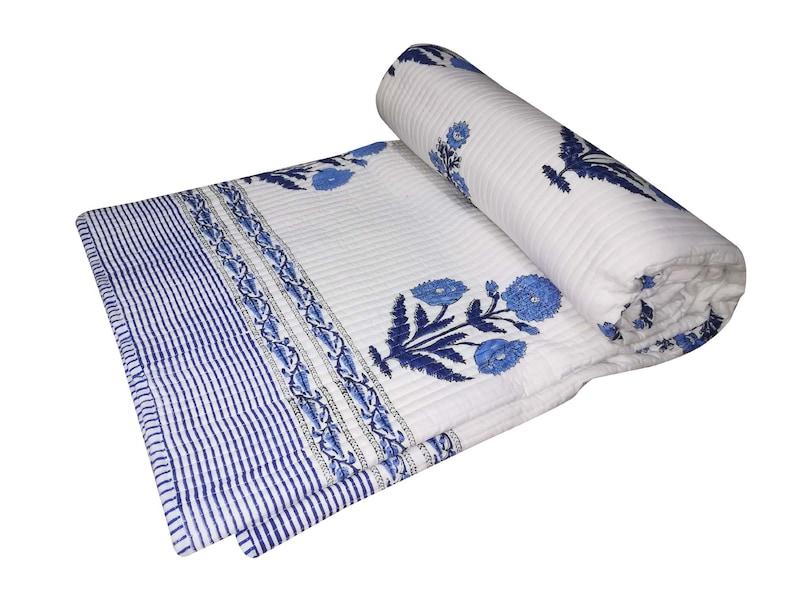 Handmade Quilt Vintage Blue Kantha Bedspread Throw Cotton Blanket Gudri Queen