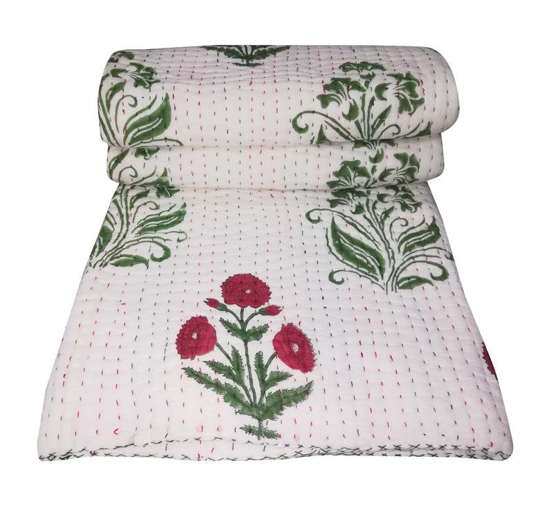 Indian Hand Block Print Cotton Kantha Quilt Rose Florwer Kantha Blanket Throw Kantha Bedding Home Decor Sofa Cover Soft Kantha Quilt 90x108