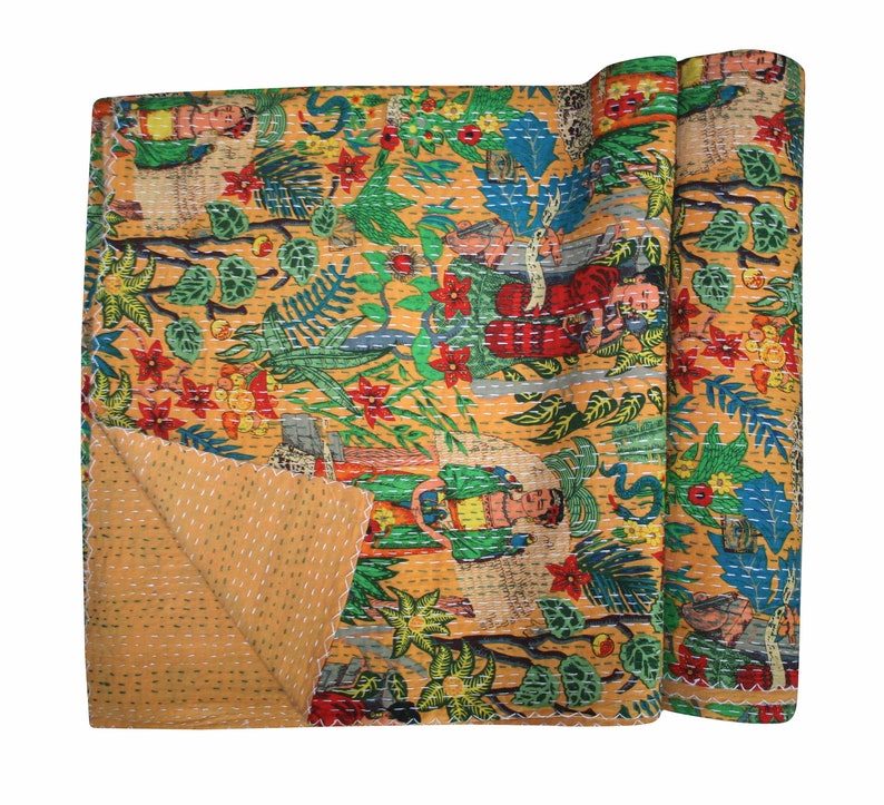 Mexican Queen farida Kahlo Print Handmade Kantha Quilt Bedspread Bedding Blanket Throw Kantha Bohemian Boho Quilt Home Living DecorArt King