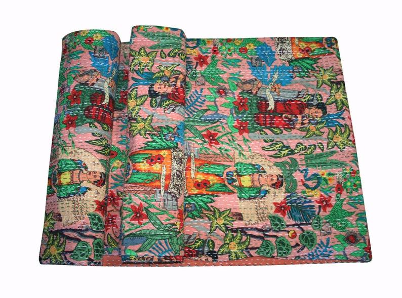 Indian Blue Frieda Kahlo Floral Cotton Kantha Quilt Bohemian Bedding Vintage