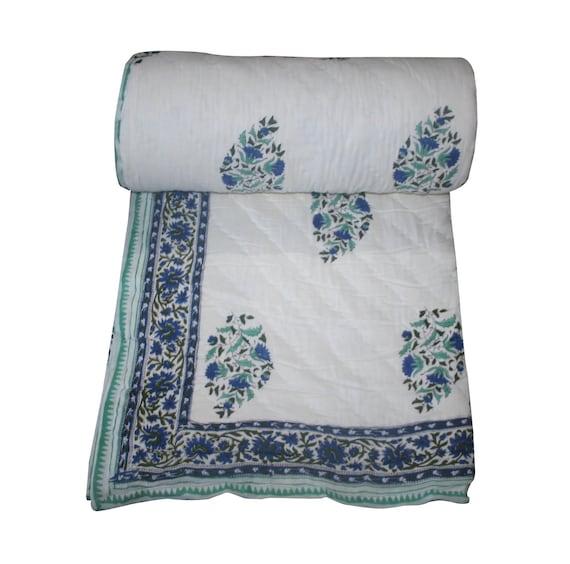 Reversible Hand Print Kantha Quilt 100/% Cotton Blanket Quilt Throw Jaipur Quilt