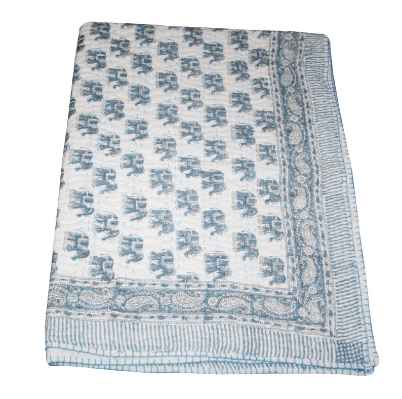 Kantha Baby Blanket Throw Kantha Baby Quilted Bedpsread Bedding Rajai Kantha Sofa Cover Elephant Hand Block Print Kantha Baby Quilt