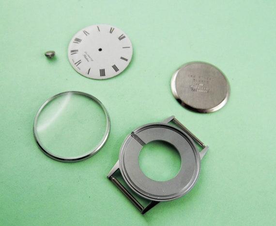 Vintage Schweizer Uhrengehäuse Quarz Edelstahl Rückseite # C022 # innen:...