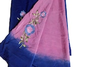 Indian Vintage Crepe Silk Hand Dye Multi Color Printed Embroidery Floral Crafting Fabric 5YD Saree