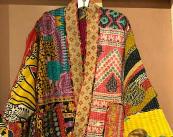 Indian Vintage Kantha Quilt Hand Crafted Cotton Long Boho, Hippie, lightweight Women Long Coat Ladies Winter Jacket Assorted