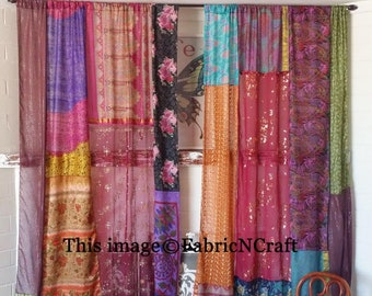 50Pcs Lot Old Silk Saree Multicolor Curtain Door Drape Window Decor Sari Curtain