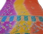 Indian Vintage Silk Blend Sari Zari Floral Hanwork Multi Color Saree Crafting Dressmaking 5 YARD
