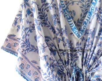 Indian Hand Block Printed Long Kaftan, Beach Cover-up, Floral Print, Pure Cotton Beach Caftan, India Kaftan, One Size Kaftan, Beach Dress