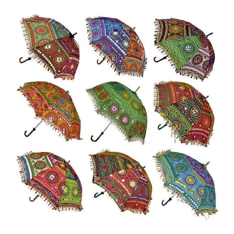 10 Pc Indian Wedding Umbrella Floral Designer Outdoor Decorations Party Look Decorations Cotton Fabric Mirror Work Vintage Parasols Umbrella