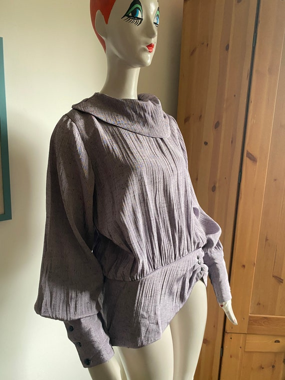 1980s Statement Blouse in Purple with Statement C… - image 5