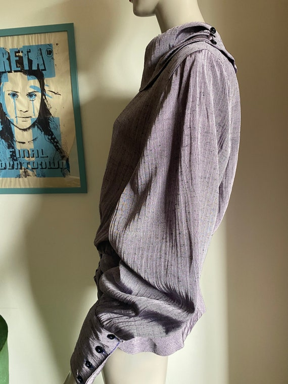 1980s Statement Blouse in Purple with Statement C… - image 7