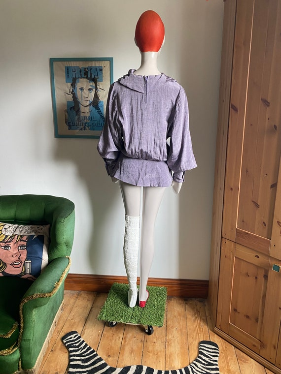 1980s Statement Blouse in Purple with Statement C… - image 8