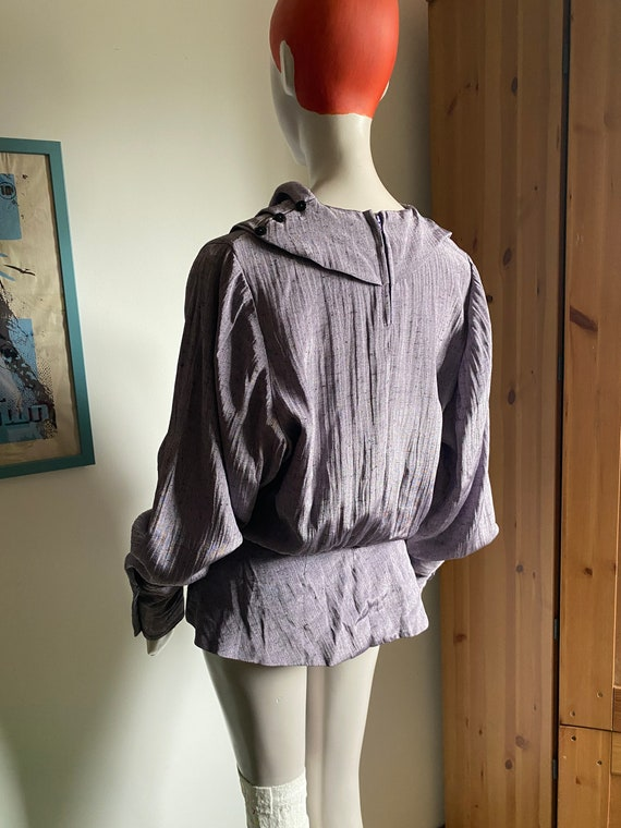 1980s Statement Blouse in Purple with Statement C… - image 9