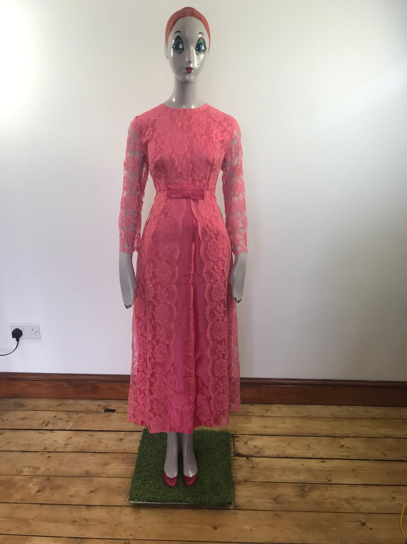 1960s Maxi Dress Retro 60s Dress Wedding Guest Dress Pink Lace Dress 1950s Pink Dress 60s Lace Dress Vintage Midi Dress