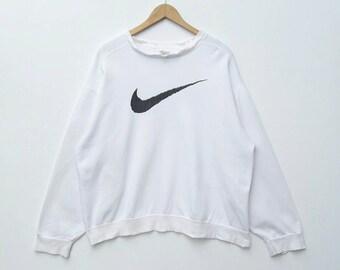 2e0f0ecf Vintage NIKE Sweatshirt Sweater Pullover Crewneck Jumper Long Sleeve  Printed Logo Large Size Hip Hop Swag Rap Tee Shirt ( fit to XXL )