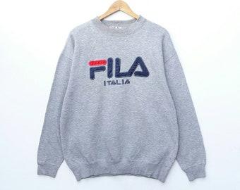 08d1806219 Vintage FILA Sweatshirt Sweater Pullover Crewneck Long Sleeve Embroidery  Big Logo Hip Hop Swag Urban Streetwear HypeBeast Large Size