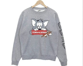 c7e573eb8469 TOM and JERRY Sweatshirt Sweater Pullover Jumper Printed Long Sleeve Large  Size Hip Hop Swag Rap Tee Shirt Cartoon Cat Mouse 90s