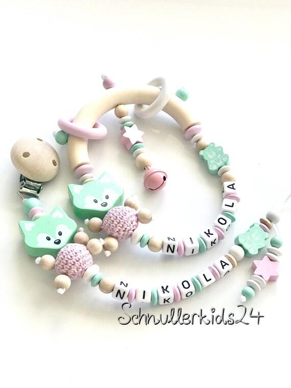 Schnullerkette mit Namen Mädchen Greifring Kinderwagenkette Set Baby Geburt Tauf