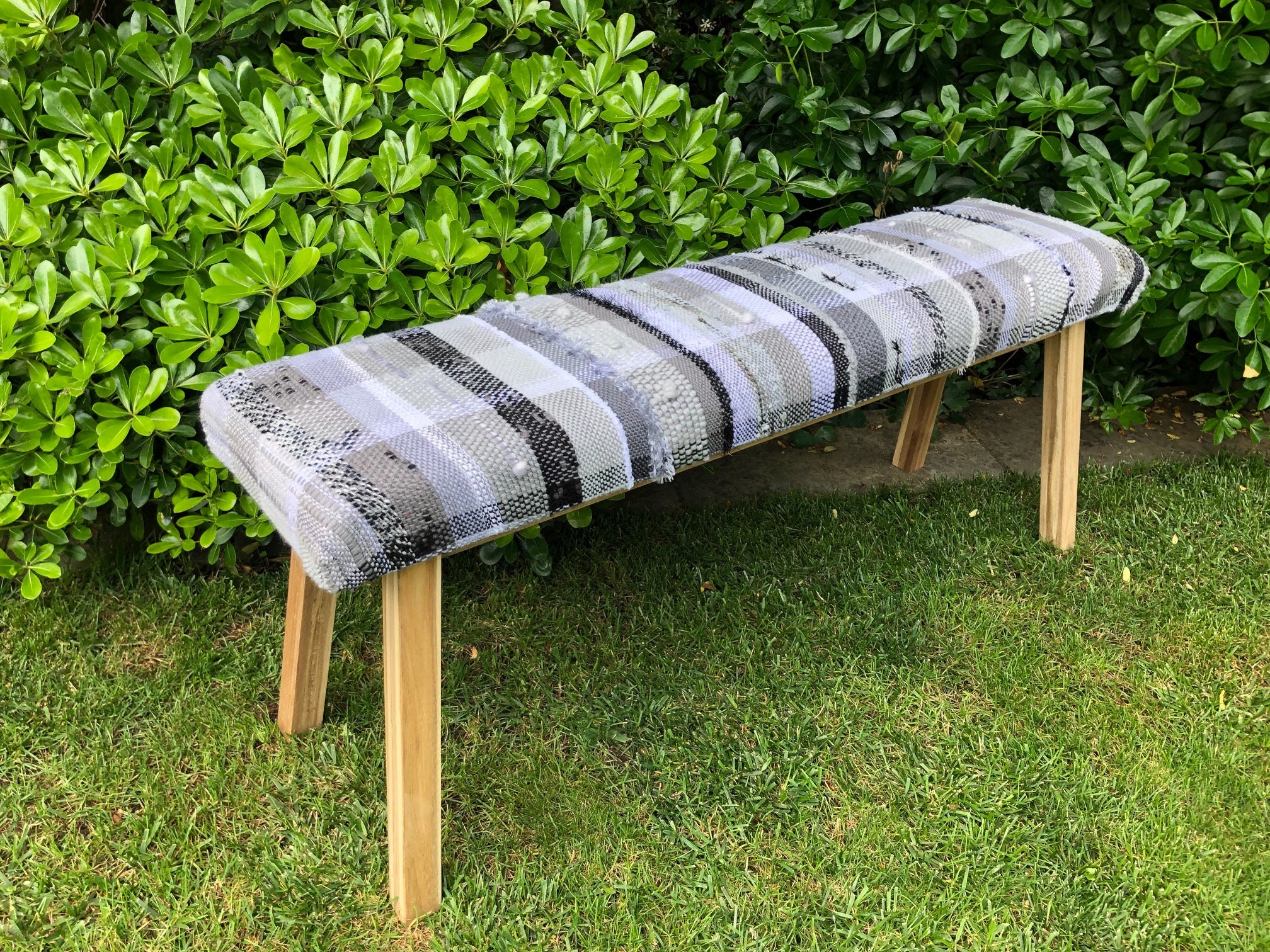 Handwoven Upholstered Bench Black Grey And White