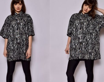 9861e1cb8 Flame Print Shirt / Vintage 90's Black And White Fire Flame Top - Size Large