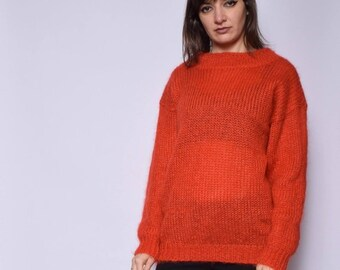693d9c00b6 Burnt Orange Wool Sweater   Vintage 90 s Mohair Oversized Sweater - Size  Medium