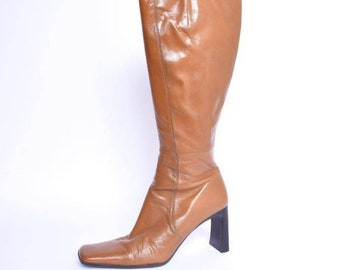 1e75f30cd35 Leather Chunky Heel Tall Boots with Side Zippers  Vintage 90 s Brown Genuine  Leather Heel Boots