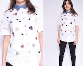 Heart White Blouse Vintage 90 39 s Embroidered Heart Button Blouse White Embellished Button Shirt - Size Small