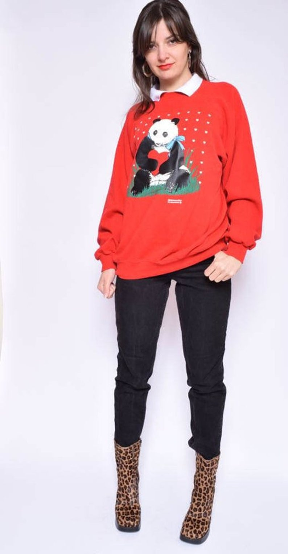 Size Extra LargeXL Panda Sweatshirt Vintage 90/'s Heart Print Sweatshirt  White Collar Red Top