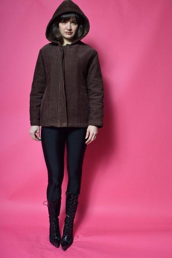 Corduroy Hooded Jacket /Vintage 90's Brown  Cordur