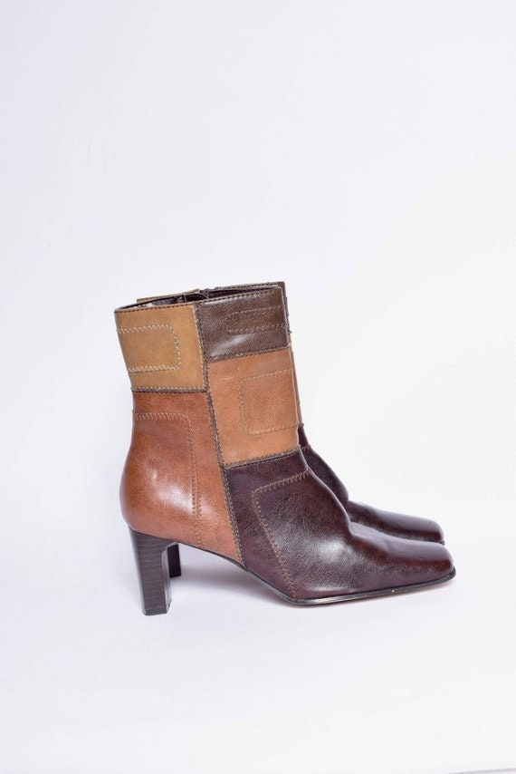 Leather Patchwork Chunky Heels Boots with Side Zip
