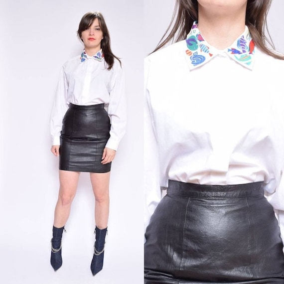 Embroidered Collar White Shirt / Vintage 90's Long