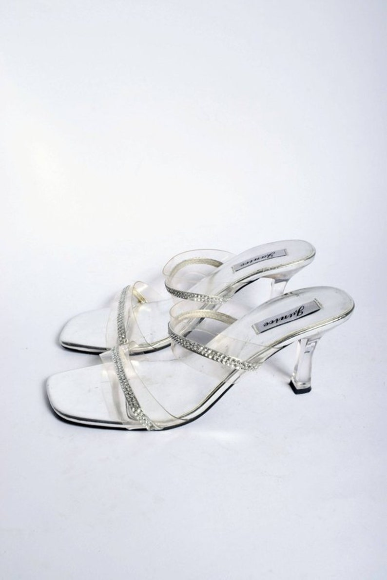 fd68f36b843 Silver Sequin Sandal Shoes with Clear Plastic Heels   Vintage