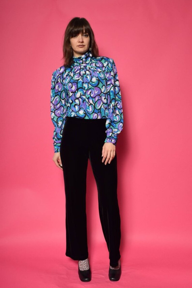 4630bbf0f459e Abstract Print Satin Shirt   Vintage 80 s Long Sleeve