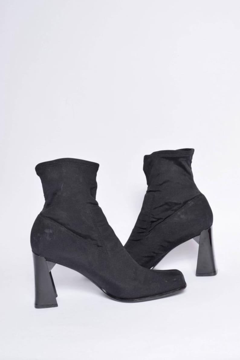 Heel High Black Nylon Shoes Sock Chunky 90's Vintage Boots thCBQxrsd