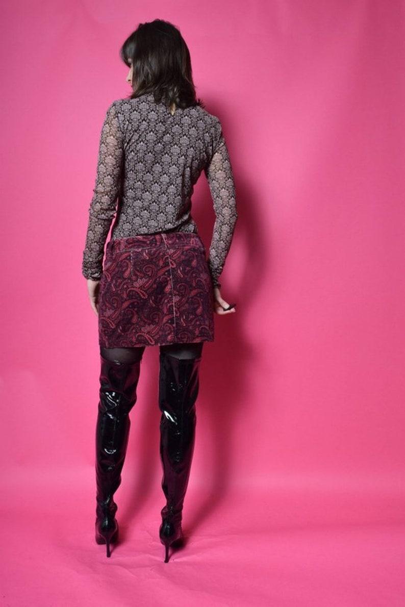 Vintage  90/'s Sheer Mesh Brown Blouse  See Through Mesh Turtleneck Top Size Medium