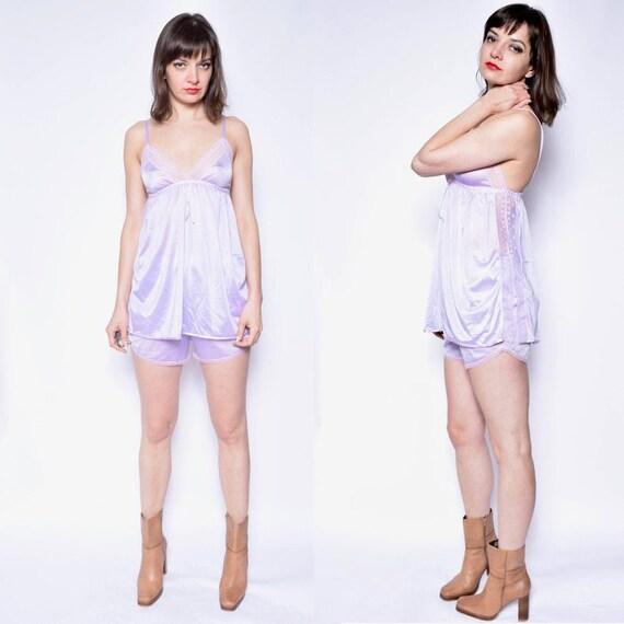 Vintage 80's Two Piece Purple Pajamas Set / Light