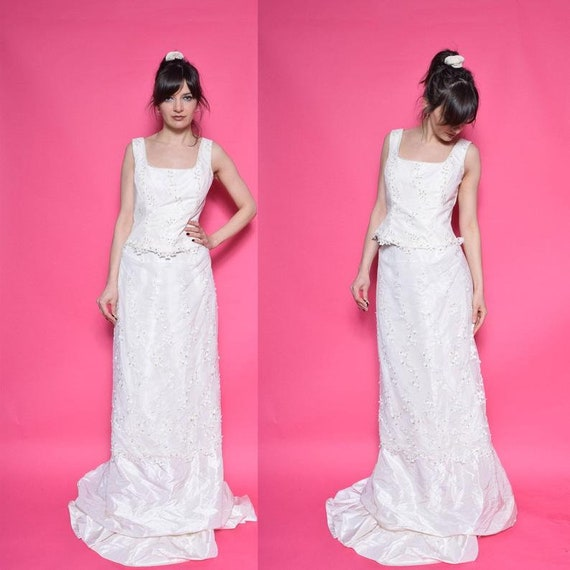 Vintage 90's Champagne White Two Piece Wedding Dre