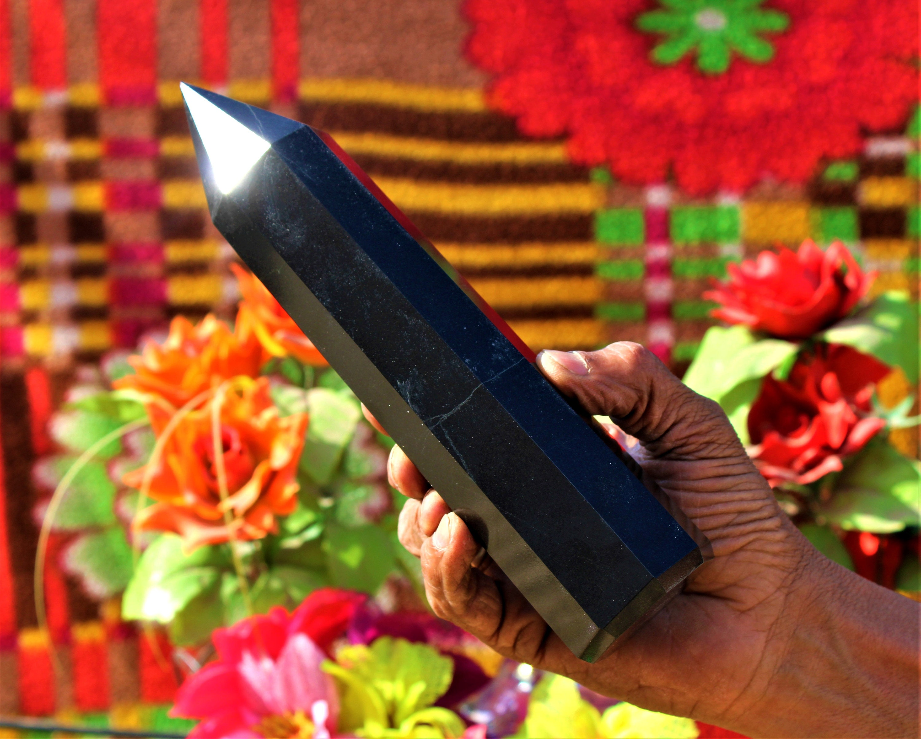 Long Egyptian 8 Faceted 220MM x 50MM Black Tourmaline Metaphysical Healing  Power Obelisk Tower